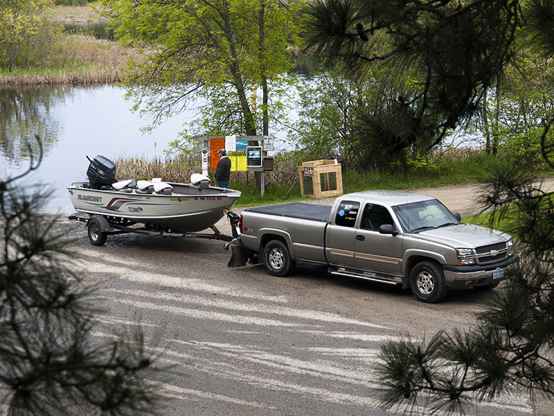 MN Fishing Pro Jason Boser's truck and boat getting ready to launch
